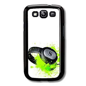 Black Frame SAMSUNG GALAXY S3 i9300 DJ headphone Clubing Funky Design Design Case Back Cover-Hard Plastic And Metal