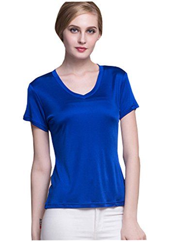 (METWAY Women's Short Sleeve Mulberry Silk V-Neck T-Shirt Medium Royal-Blue)