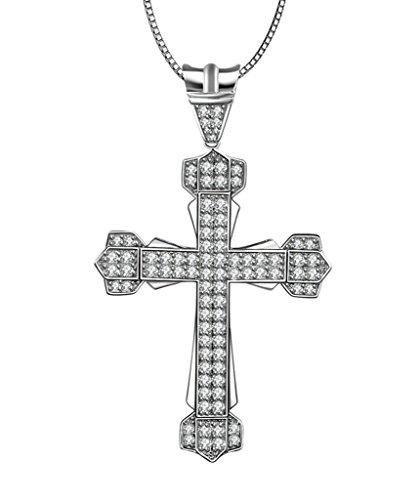 AMDXD Jewelry Argent Sterling 925 Femmes Pendentif Collier Croix Cubic Zirconia Couronne comme Cadeau D'anniversaire