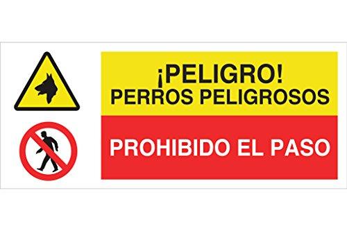 Cofan Cartel combinado Peligro Prohido el paso / perros peligrosos