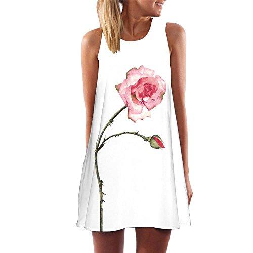 Clearance! Ruhiku GW Womens Dress Summer O-Neck Boho Sleeveless Floral Printed Beach Mini Dress Casual T-Shirt Short Dress (S, F)