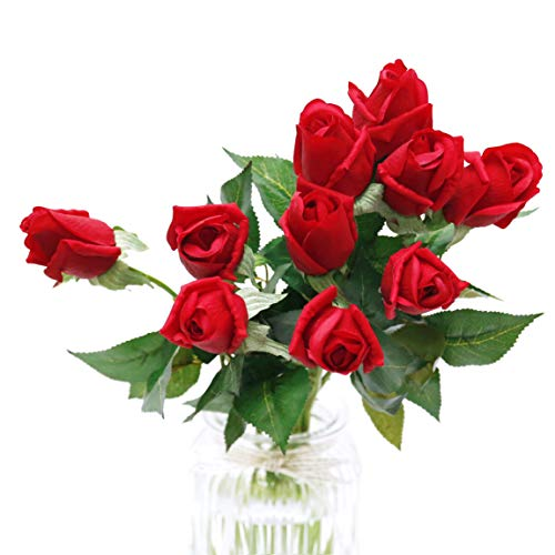 (10Pcs Artificial Silk Red Roses Fake Real Touch Flowers Faux Bridal Bouquet for Wedding Home Garden Decor (Red Long Stem))