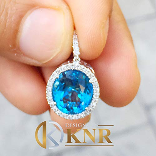 14k White Gold Oval Cut Blue Topaz And Round Cut Diamonds Pendent Necklace Art Deco Antique Style Halo Bridal Gift Chain Wedding 5.20ctw ()