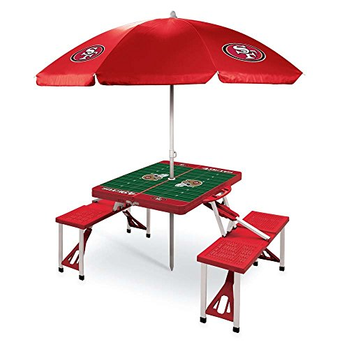 NFL San Francisco 49ers Picnic Table Sport with Umbrella Digital Print, One Size, Red by PICNIC TIME