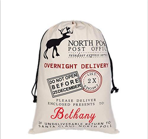 (HUAN XUN Custom Name Christmas Santa Sack Bethany Best Gifts Bags for Home Familys)