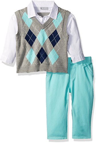 The Children's Place Baby Boys' 3-Piece Sweater Vest, Shirt & Pant Outfit, Mellow Aqua 74928, 3-6 Months