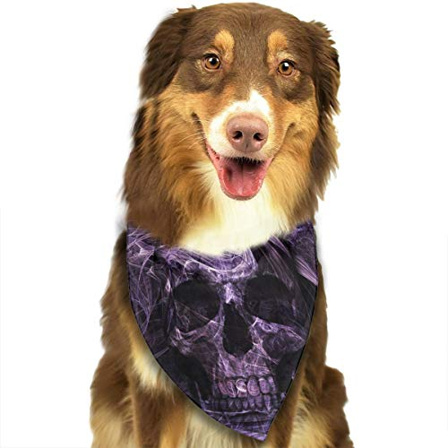 WUGOU Dog Bandana Art Skull Purple Cute Pet Pack Washable Triangle Bibs Scarfs Kerchief Set Accessories for Dogs and -