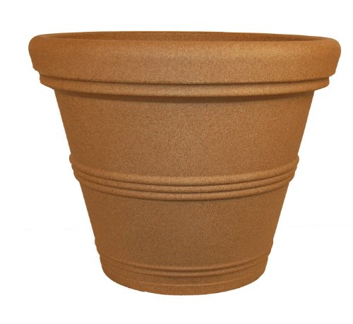 Tusco Products RR245SS Rolled Rim Garden Pot, 24.5-Inch, Sandstone ()
