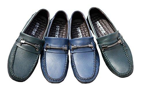 Serene Mens Breathe Stylish Moccasin Buckle Slip On Casual Loafer(10.5 D(M)US, Blue)