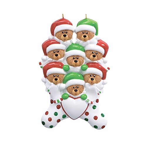 Personalized Bear Stocking Family of 8 Christmas Tree Ornament 2019 - Triplet Sibling Sleepyhead Red Hat Polka Dot Heart Cute Friend Child Winter Tradition Gift Year - Free Customization (Eight)