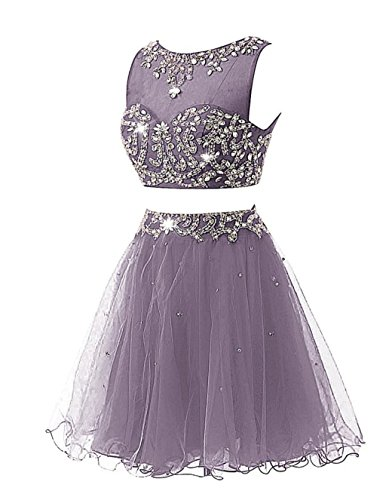 Two Beaded Grey Pieces Kurz Kleid Women's Fanciest Ballkleid Abendkleider Cocktail Party qZgEFnTx
