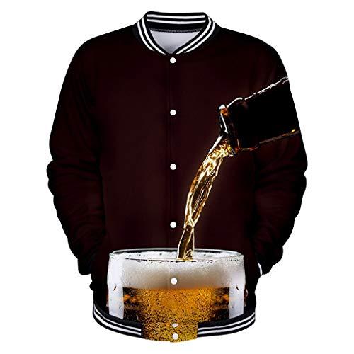 American Denver Beer Festival Cheers Baseball Uniform,Londony Unisex 3D Beer Print Jacket Sweatshirt Buttons Shirt