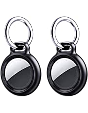 [2-Pack] Benazcap Case for AirTag Wallet Key Finder, Screw-in Buckle and Open Design with Airtag Keychain and Lanyard, Hard Shell Anti-Lost Case Hanging on Backpack Key Pet Collar- Black