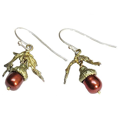 "Pearl Earring Color. ""Acorn and Oak"" Pearl Earrings by Michael Michaud. #pearls"