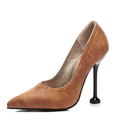 Zapatos QOIQNLSN Brown Mujer Bomba Stiletto Talón Primavera Negro Marrón Poliuretano De Rojo Tacones PU Básica ddfwr6