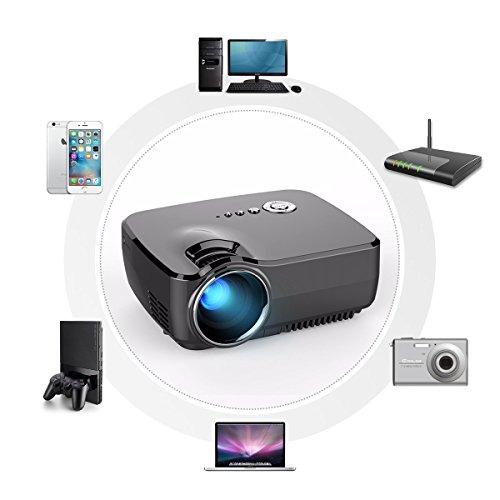 Mini projector elegiant portable projectors 1200 lumens for Compact projector for ipad