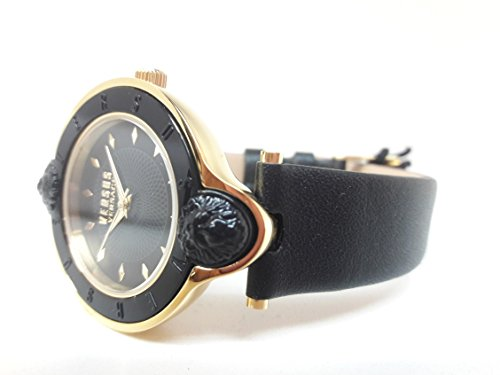 Versus by Versace Women's 'NEW LOGO' Quartz Stainless Steel and Leather Casual Watch, Color:Black (Model: - Versace New