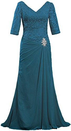 ANTS Women's V Neck Lace Sleeve Evening Mother of The Bride Dresses Size 16 US Teal