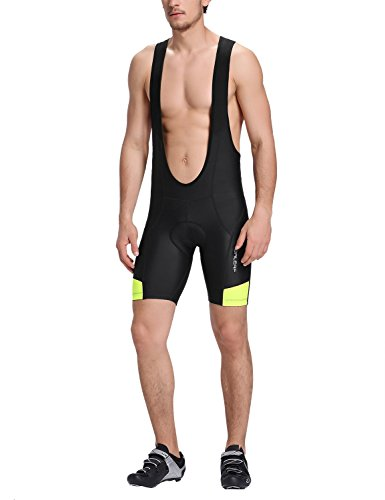 Baleaf Men's Elite Cycling Bib Tights Shorts UPF 50+ Black Yellow Size M