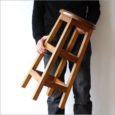 木製スツール 無垢 カウンターチェア カウンタースツール チークキッチンハイスツール [wat3552] B01G4UHMMI