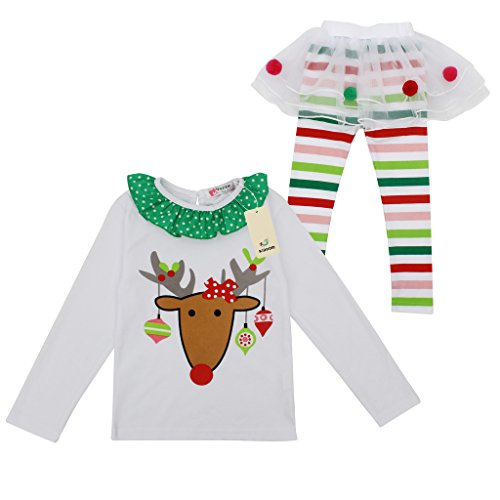 Kiddom Little Girls Christmas Customes Clothing Set Top&Pant 5T (2)