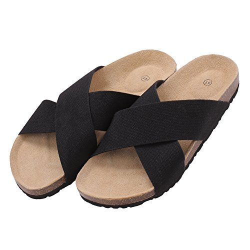 VVFamily Womens Slipper Sandals Black Elastic Shoes by (EU 38, Black)