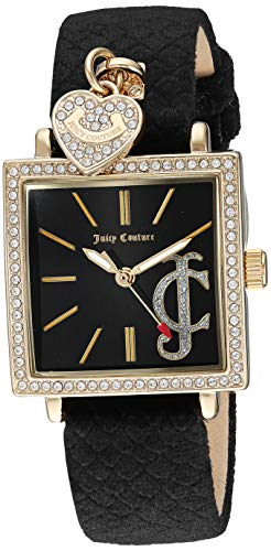 Juicy Couture Black Label Women's  Swarovski Crystal Accented Gold-Tone and Black Velvet Strap -