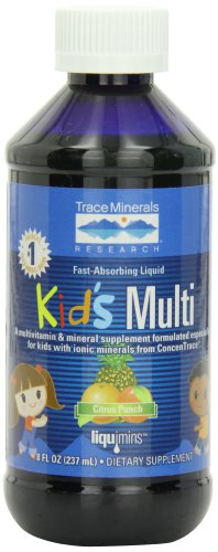 Trace Minerals Kids Multi-Vitamin/Mineral Supplement, Fast-Absorbing Liquid Formula, Citrus Punch, 8-Ounce Bottles