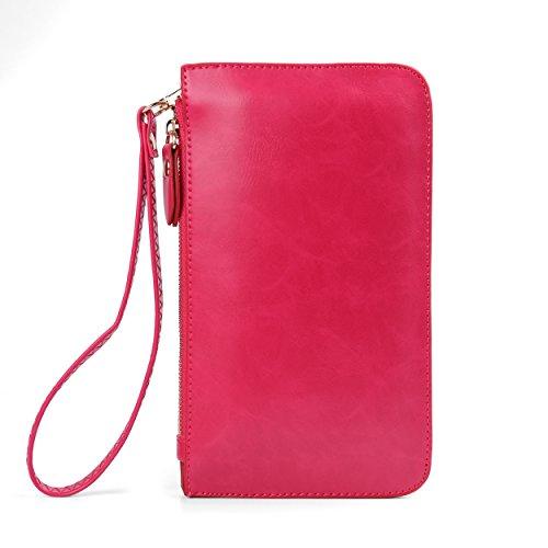 Screen Zipper Clutch Magenta Crossbody Handbag Bag Universal Touch Wallet z4P1xE1qw