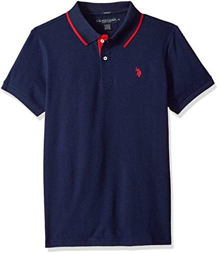 U.S. Polo Assn. Men's Short Sleeve Slim Fit Solid Pique Polo Shirt, Classic Navy KJBH, L (Pique Polo Mens Solid)
