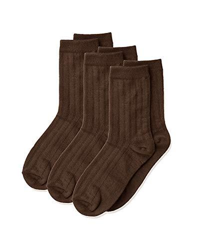Jefferies Socks Boys' Big Three-Pack Rib Crew Socks, Chocolate Brown, Medium