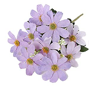 Tutuziyyy 2 Bouquets Artificial Chrysanthemum Flowers Fake Garden Cosmos for Memorial Day, Cemetery, Home Office, Wedding, Restaurant Décor, Light Purple 118