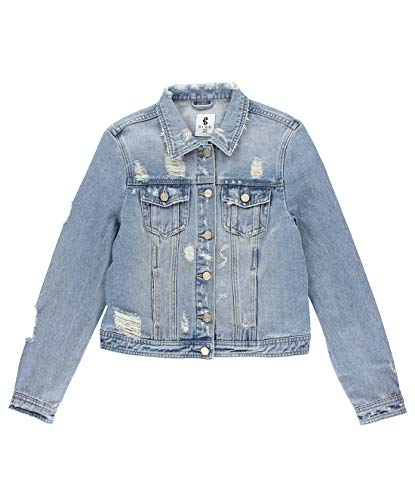 BLBD Women's Distressed Denim Jacket Light X-Large