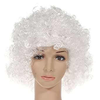 Party Disco Rainbow Afro Clown Hair Football Fan Adult Child Costume Curly Wig White
