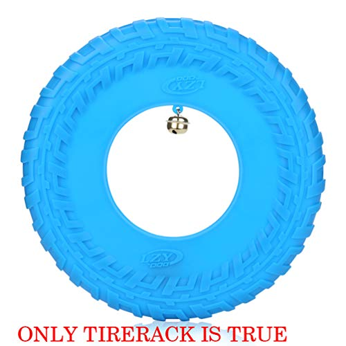 Dog Flying Disc Rubber Fitness Flyer Sports Toys Outdoor Pet Training Supplies on Lawn Beach Yard Games with Small Bell (Blue, 10