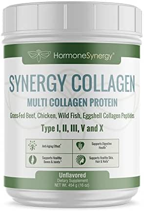 Multi Collagen Protein | Synergistic Blend of Grass-Fed Beef, Chicken, Wild Fish and Eggshell Collagen Peptides, Providing Type I, II, III, V and X |