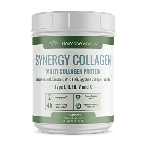 Synergy Collagen | Multi Collagen Protein | Synergistic Blend of Grass-Fed Beef, Chicken, Wild Fish and Eggshell Collagen Peptides, Providing Type I, II, III, V and X |