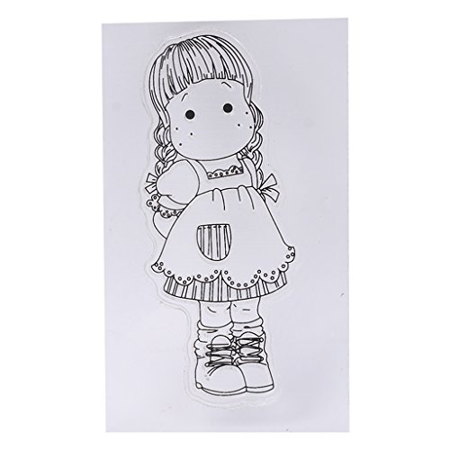 ❤JaneMo New Arriving Clear Stamps Cute Little Girl Transparent Silicone Clear Rubber Stamp Cling Diary Scrapbooking DIY Art Craft Decoration