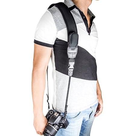 Neck Strap Neoprene rilascio rapido per reflex digitali videocamere Kaavie binocoli Curve Color Design Nero