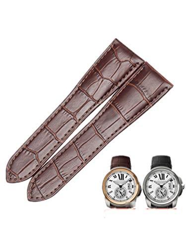 for Cartier Calibre de Diver W7100037 Tank W5330003 Crocodile Leather Strap Watchband 24.5MM (Brown)