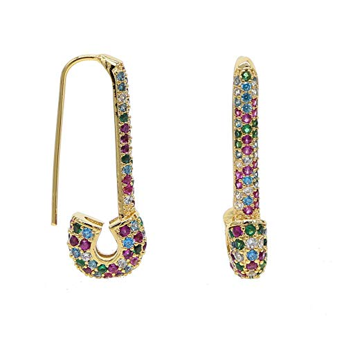 (ATJMLADY Gold Plated Micro Pave Rainbow Cubic Zirconia cz Safety pin Earring Women Gift (Gold))