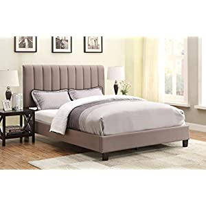 Right2Home Pulaski Robinson Upholstered All-in-One Bed, Queen, Sterling Taupe