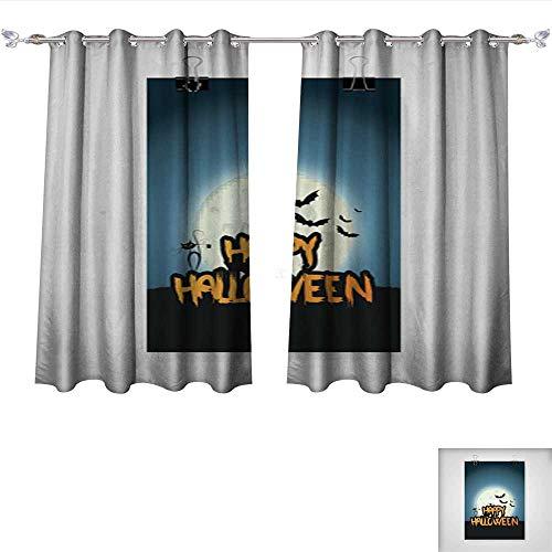 Linen Blackout Curtains Happy Halloween Flyer Design Vector background1 Insulated Room Darkening Curtains W55 x L63/Pair ()