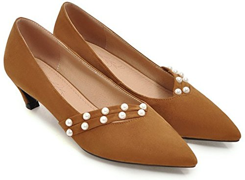 IDIFU Womens Dressy Pointed Toe Low Cut Chunky Mid Heeled Low Top Slip On Pumps Shoes Yellow 9Ek0yv66