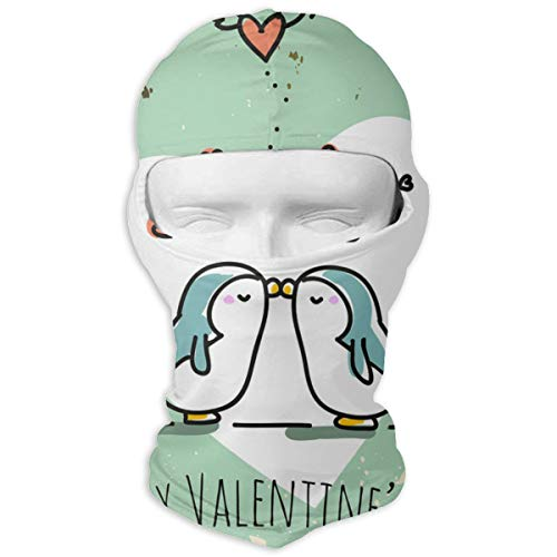 (Balaclava Cute Penguin Plus Heart Full Face Masks UV Protection Ski Cap Womens Neck Warmer for Outdoor)