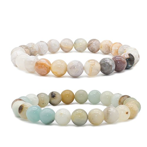 Bivei Natural Amazonite Bamboo Leaf Agate Gem Semi Precious Gemstone Round Beads Healing Crystal Stretch Bracelet(Set of 2)