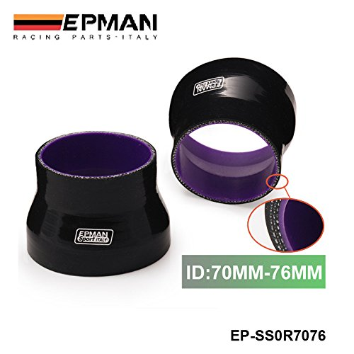 EPMAN 2.75'-3' 70mm-76mm Turbo Intercooler Pipe 3-Ply Silicone Transition Coupler Hose Reducer (Black With Purple) RUIAN EP INTERNATIONAL TRADE CO. LTD
