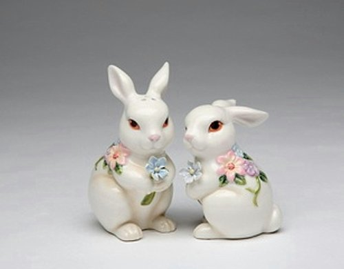 (White Bunny Rabbits with Flowers Ceramic Easter Salt and Pepper Shakers)