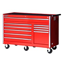 International VRB-5610RD 56-Inch 10 Drawer Red Tool Cabinet with Heavy Duty Ball Bearing Slides