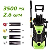 Homdox 3500 PSI Electric Pressure Washer, 1800W Power Washer, 2.60GPM High Pressure Washer, Professional Washer Cleaner Machine with 4 Interchangeable Nozzles(1800W with Hose Reel)
